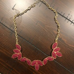 Francesca's gold and magenta necklace
